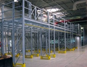 space saving mezzanine setup in a warehouse