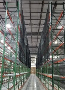 Pallet Rack Installation with Safety Netting